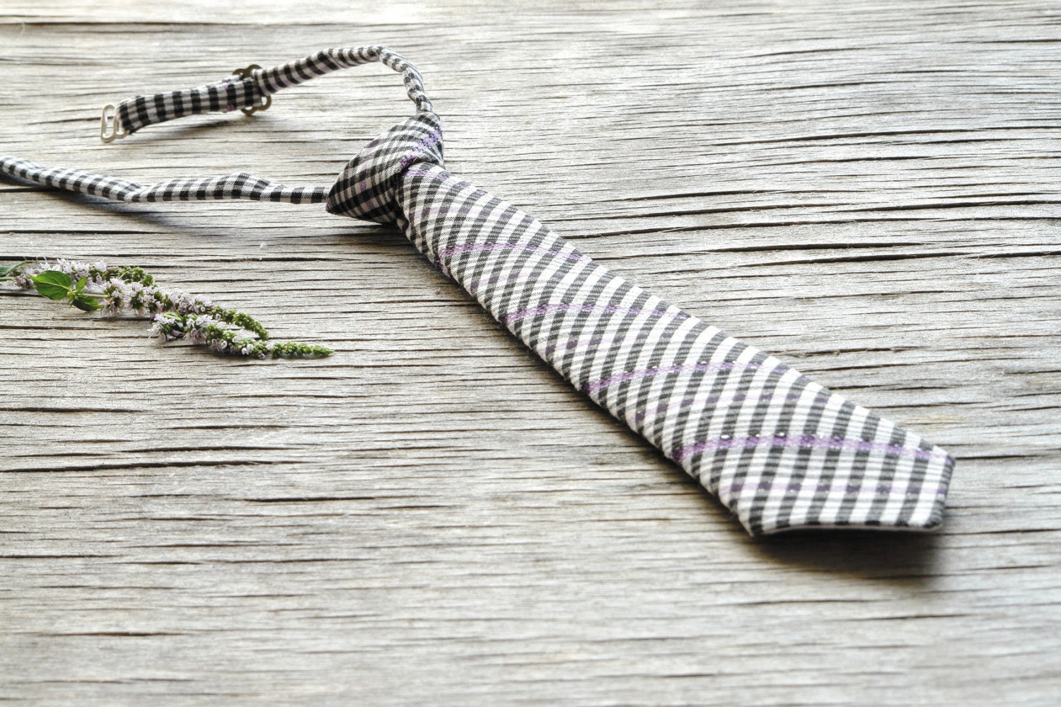 little man tie Black white plaid lilac, PRE-TIED NECKTIE, little boy tie, newborn tie, baby tie, gingham tie,  photography prop