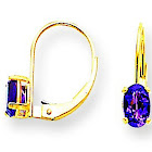 14K Yellow Gold Polished 6x4mm Oval Amethyst Leverback Earrings - .86 cwt