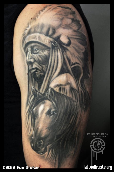 Indian Chief N Horse Head Tattoo Design In 2017 Real Photo