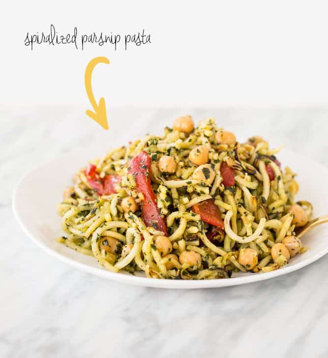 Spiralized Parsnips with Pesto, Roasted Red peppers and Chickpeas