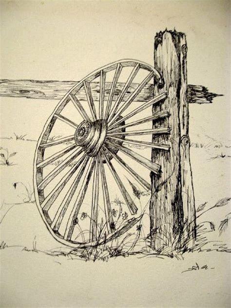 ink sketch     wagon wheelthis   close