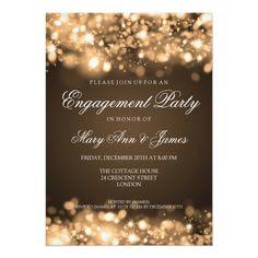 Burlap lace engagement invitation plus rustic string lights | A ...