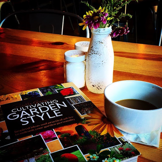 Garden Decor: Today's Coffee Break Reading at Farm Table via Instagram | A Gardener's Notebook