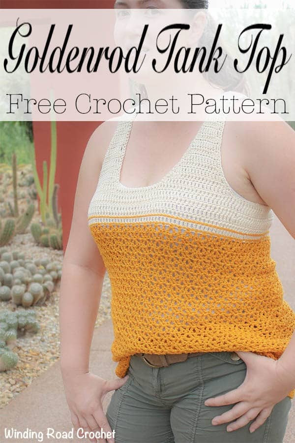 The Goldenrod summer crochet tank top is a fun free crochet pattern that is designed to flatter most body types. Sizes small, medium, large and extra large available. The top is made with mostly double crochet. This crochet top is loose fitting and nice and airy. #crochet #freepattern #pattern #free #crochet #crochetsummertop #summertop #summer #tanktop