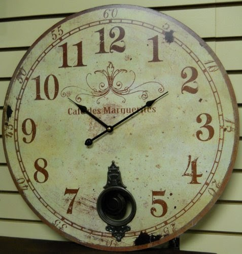 Wise Selection Large 23 Wall Clock With Pendulum Antique French Provi