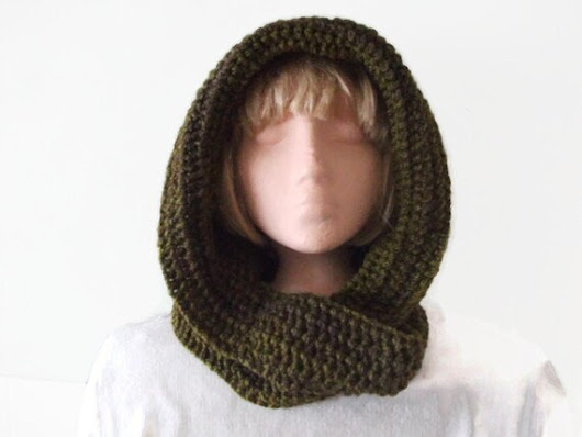 Unique Design Hooded Scarf  Greens and by UniquelyYourDesigns