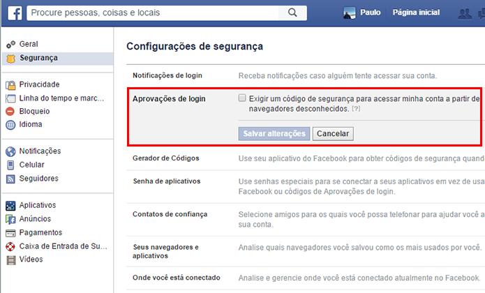 Habilite o login em duas etapas do Facebook (Foto: Reprodução/Paulo Alves)