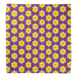 Yellow Pinwheel-like Design on Bandana
