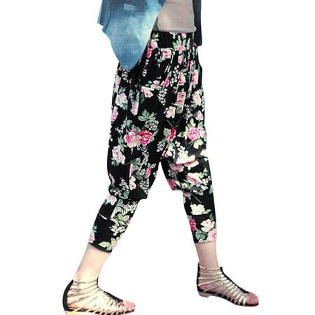 Women's Elastic Waist Floral Prints Low Rise Cropped Harem Pants Black (Size XS \/ 2)
