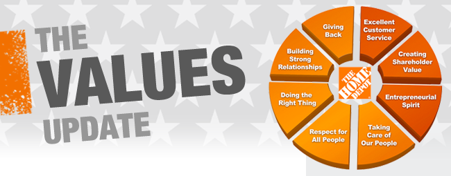 home depot vision statement Learn about the eight core values that guide the beliefs and actions of home depot stores and associates every day.