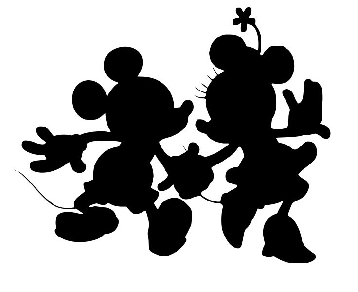 Mickey And Minnie Head Silhouette