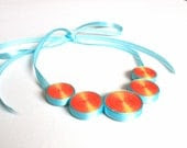 Neon bright necklace, bubble necklace, bib necklace - OOAK - HanhmadebyUkropova
