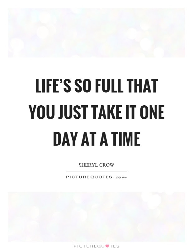 Lifes So Full That You Just Take It One Day At A Time Picture Quotes
