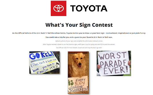 The Rock 'n' Roll Marathon Toyota What's Your Sign Contest encourages participation from the community - American Sweepstakes