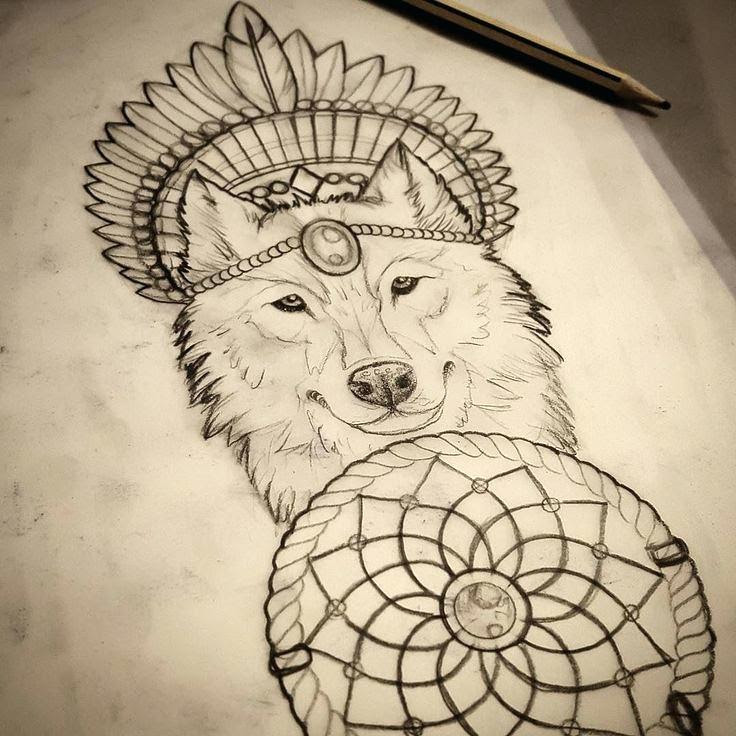 Wolf Dreamcatcher Drawing At Getdrawingscom Free For Personal Use