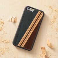 Varied Width Stripes Wood iPhone Carved Cherry iPhone 6 Bumper