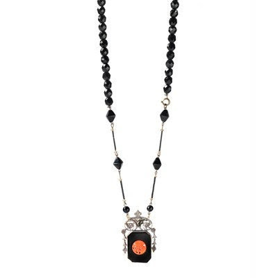 Victorian coral, silver, and black glass necklace