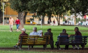 Albanians enjoy their morning in the main Green City Park in Tirana, Albania
