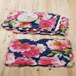 "4-piece Barefoot Bungalow Peony Posy Perfect Addition Kitchen Dining Room Table Placemats Set - 20 x 14"", Navy"