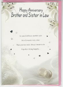 Anniversaries Brother And Sister In Law English Greeting Cards