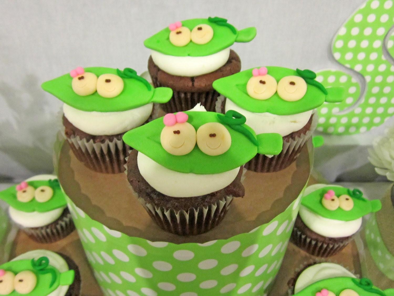 Peas in a Pod Cupcake Toppers - 1 Dozen