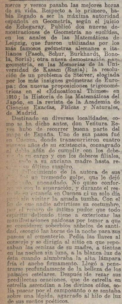 """Elegía a Ventura Reyes Prósper por Alberto de Segovia titulada """"Elegía en mala prosa"""" publicada en La Acción el 20 de diciembre de 1922 (II)"""