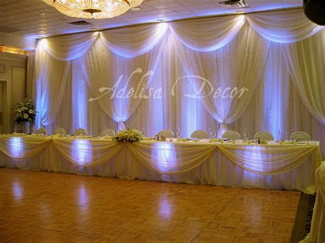 Dreamy Ivory Sheer Wedding Reception Backdrop, Head Table