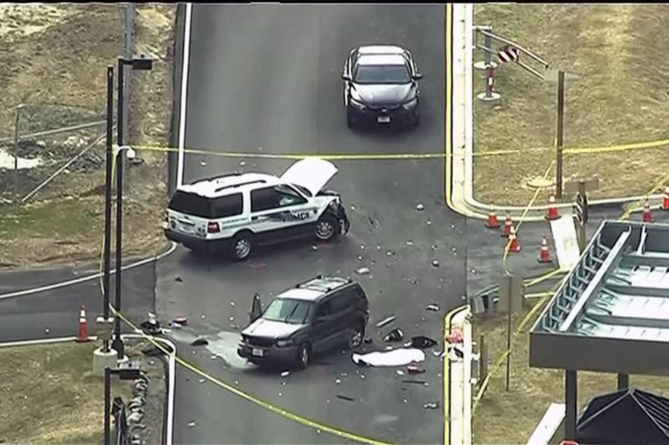 An aerial view of a Fort Meade gate in the aftermath of what officials called a  gate-crashing incident on March 30, 2015.
