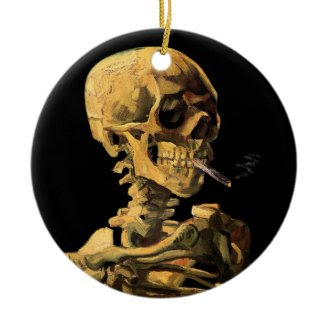 Van Gogh Skull With Burning Cigarette Ornament