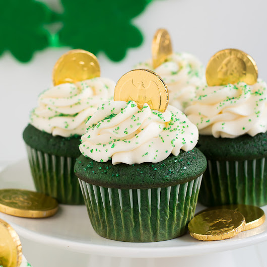 Green Velvet St. Patrick's Day Cupcakes - Garnish & Glaze