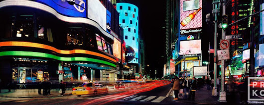 Panoramic View of Times Square at Night II - Fine Art Photo by Andrew Prokos