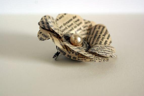 Flower brooch, rose brooch, recycled book, paper flower, pearl rosette