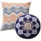 Greenland Home Medina Pillow Set, 3 Piece, 18x18 Inches Plus 18 Inches Round, Saffron