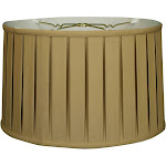 Royal Designs Shallow Drum English Box Pleat Basic Lamp Shade, Antique Gold, 11 x 12 x 8.5