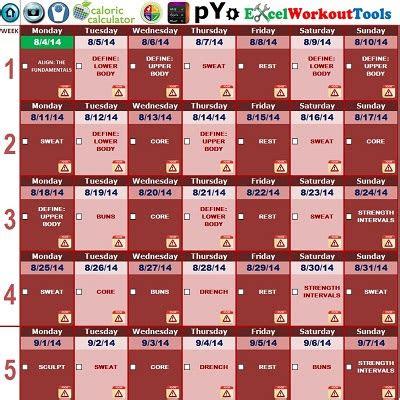 excel workout tool  piyo