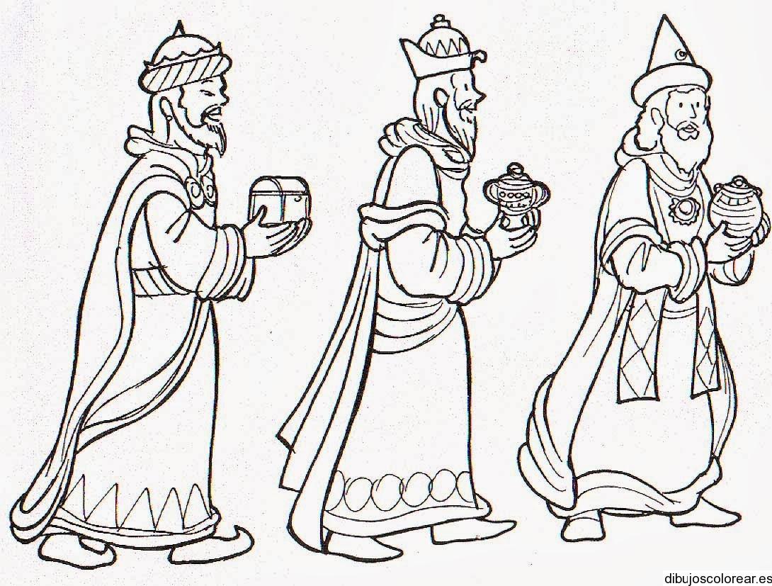 Dibujo De Los Tres Reyes Magos Con Un Regalo