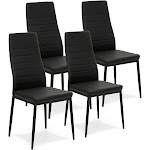 Best Choice Products Set of 4 PU Leather High Back Dining Chairs (Black)