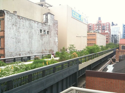 A stretch of the High Line's new section, with buildings abutting it