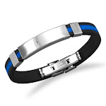 Wildfire Fashion Blue and Black Stainless Steel and Rubber ID Men's Bracelet Greek Key Design