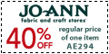40% Off One Regularly-Priced Item at Joann.com!