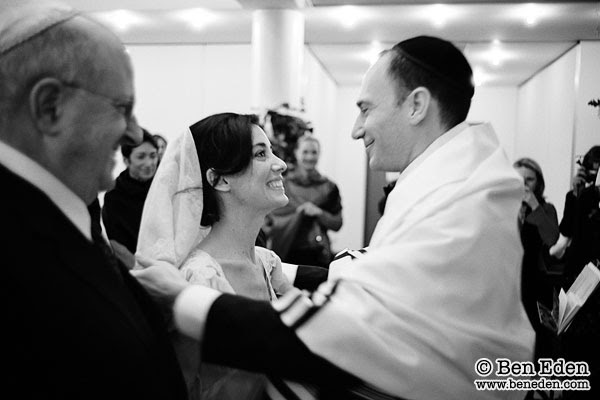 Lifting of the veil in a Paris Jewish Wedding ceremony