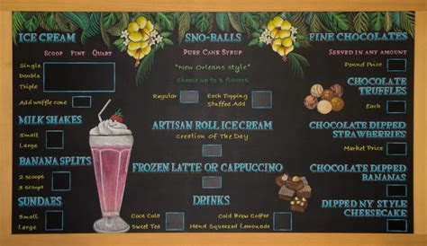 Chalkboard menu for Ice Cream Store   Chalk It Up Signs