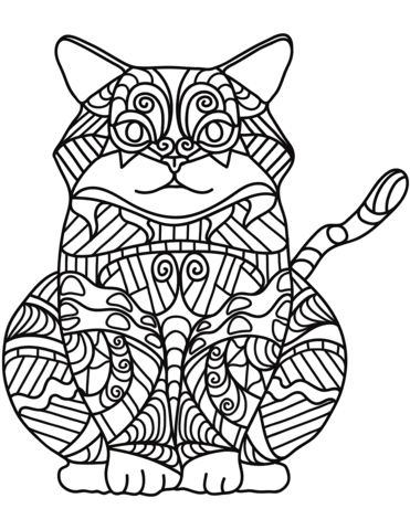 sitting cat zentangle coloring page  free printable
