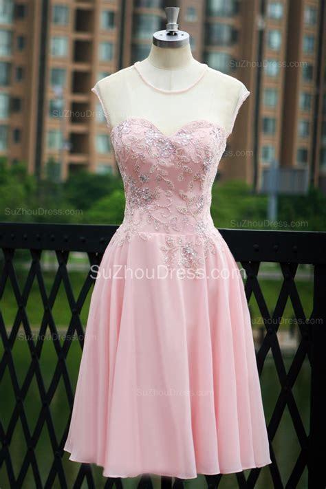 Elegant Pink Prom Dresses Jewel Sequined Crystal Beading