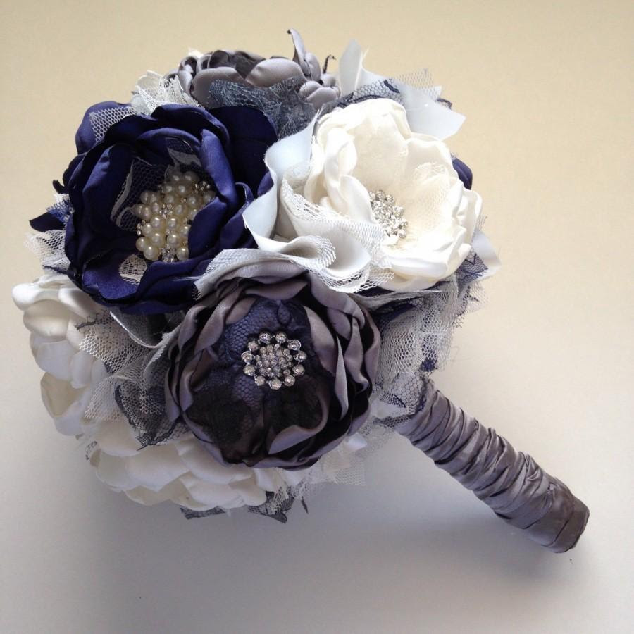 Fabric Bouquet Large Size Cream Navy Blue And Charcoal Grey Bridal Bouquet Fabric Flower Bouquet Herloom Bouquet Navy Wedding 2890130 Weddbook
