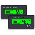 Multifunctional Battery Capacity Monitor 48V LCD Fuel Gauge Green by Adesso Power