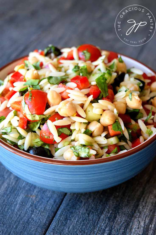 Clean Eating Chickpea Orzo Salad Recipe | The Gracious Pantry