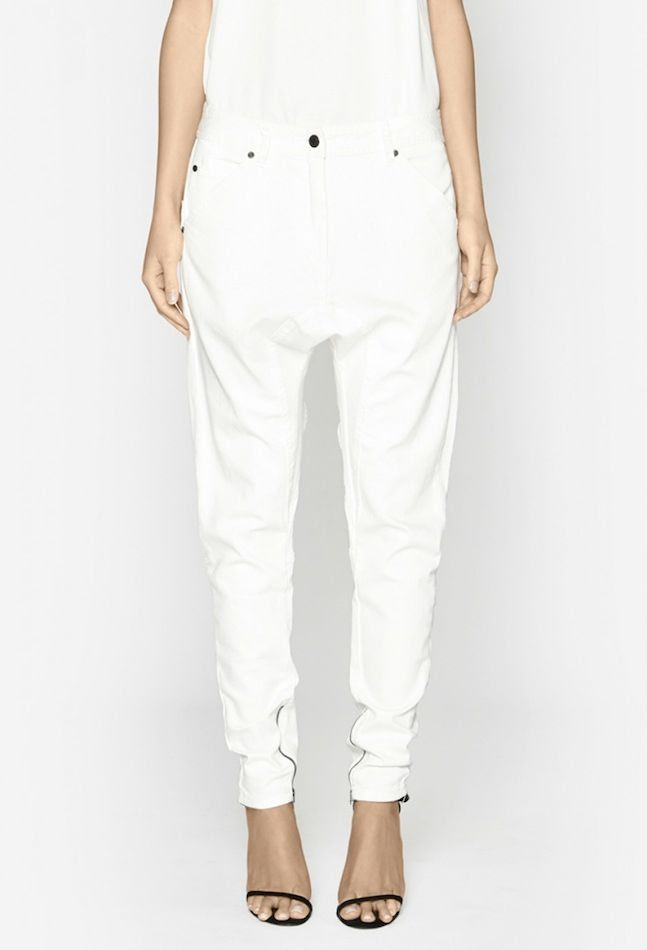 Le Fashion Blog Drop Crotch Pants White Camilla and Marc Poker Denim Jeans Thin Black Ankle Strap Sandals photo Le-Fashion-Blog-Drop-Crotch-Pants-White-Camilla-and-Marc-Poker-Denim-Jeans-Thin-Black-Ankle-Strap-Sandals.jpg