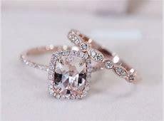 Art Deco VS 7x9mm Pink Morganite Wedding Set W/ Half Eternity Matching Band 14K Rose Gold
