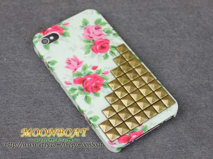 Flower Rose Hard Case With Antique Brass Pyramid Stud for Apple iPhone 4 ,iPhone 4s,iPhone 4 Hard Case,iPhone Case MB447